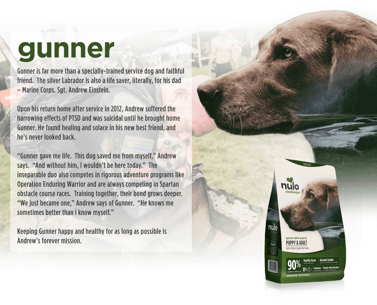 Slide two of five: Sergeant Andrew Einstein's dog Gunner is featured on the Duck, Turkey & Guinea Fowl kibble bag.