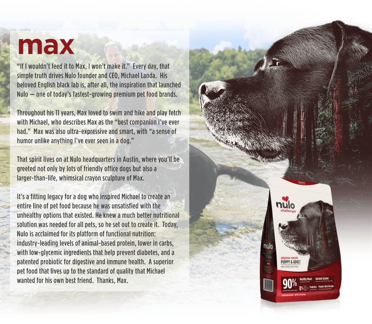 Slide one of five: Our founder's dog Max is featured on the Challenger Beef, Lamb & Pork kibble bag.