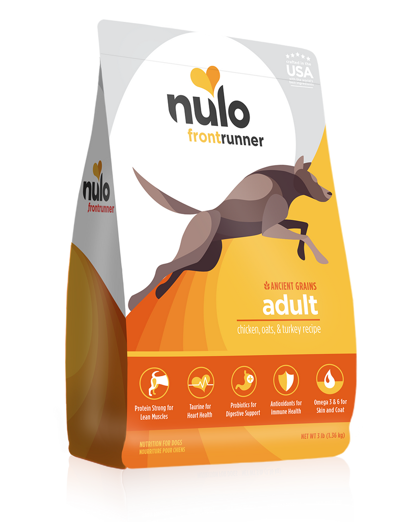 Nulo Frontrunner grain- inclusive dry kibble for adult dogs. Chicken, Oats and Turkey recipe. This is a yellow and white front of bag image.