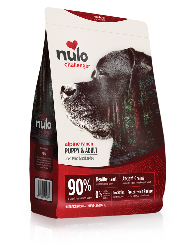 Nulo Challenger grain- inclusive dry kibble for adult dogs. Beef, Lamb and Pork recipe. This is a red and white front of bag image. Black lab, Max is pictured on the front of the bag.