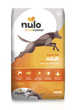 Nulo Frontrunner grain- inclusive dry kibble for adult dogs. Chicken, Oats and Turkey recipe. This is a yellow and white front of bag image
