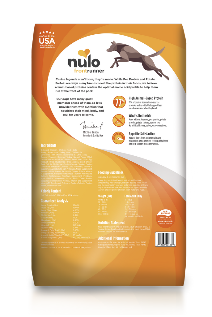 Nulo Frontrunner grain- inclusive dry kibble for adult dogs. Chicken, Oats and Turkey recipe. This is a yellow and white back of bag image.