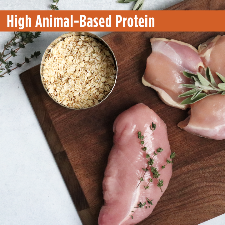 Raw chicken and turkey with fresh cut oats on a cutting board. Frontrunner chicken ,oats and turkey recipe is a high animal- based protein kibble for your dog.