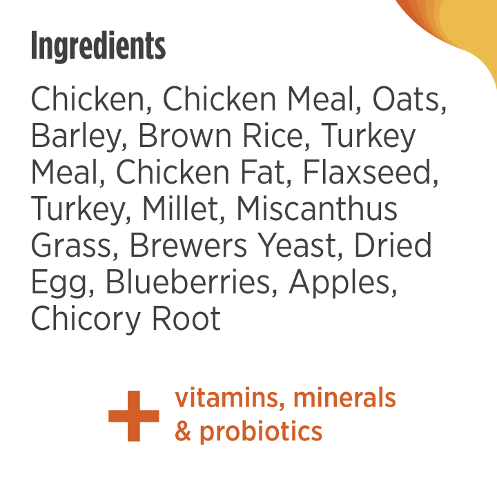 Image contains abbreviated ingredient list. Please scroll down to the next paragraph to get the full ingredient list for Nulo Frontrunner Chicken, Oats and Turkey Recipe.