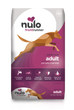 Nulo Frontrunner grain- inclusive dry kibble for adult dogs. Pork, Barley and Beef recipe. This is a pink and white front of bag image.