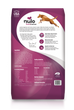 Nulo Frontrunner grain- inclusive dry kibble for adult dogs. Pork, Barley and Beef recipe. This is a pink and white back of bag image.