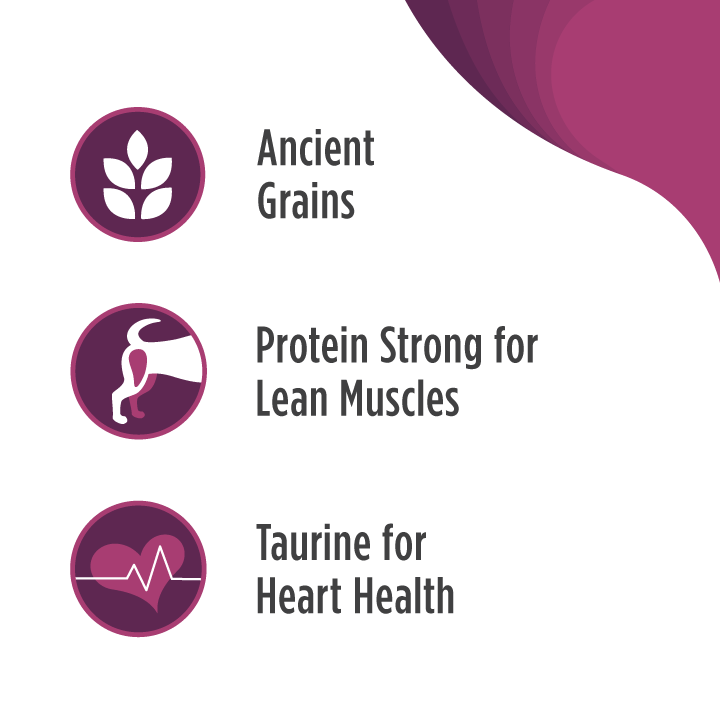Our Frontrunner Pork, Barley and Beef Recipe includes: bullet one: ancient grains, bullet two: protein for strong muscles, bullet three: added taurine for heart health.