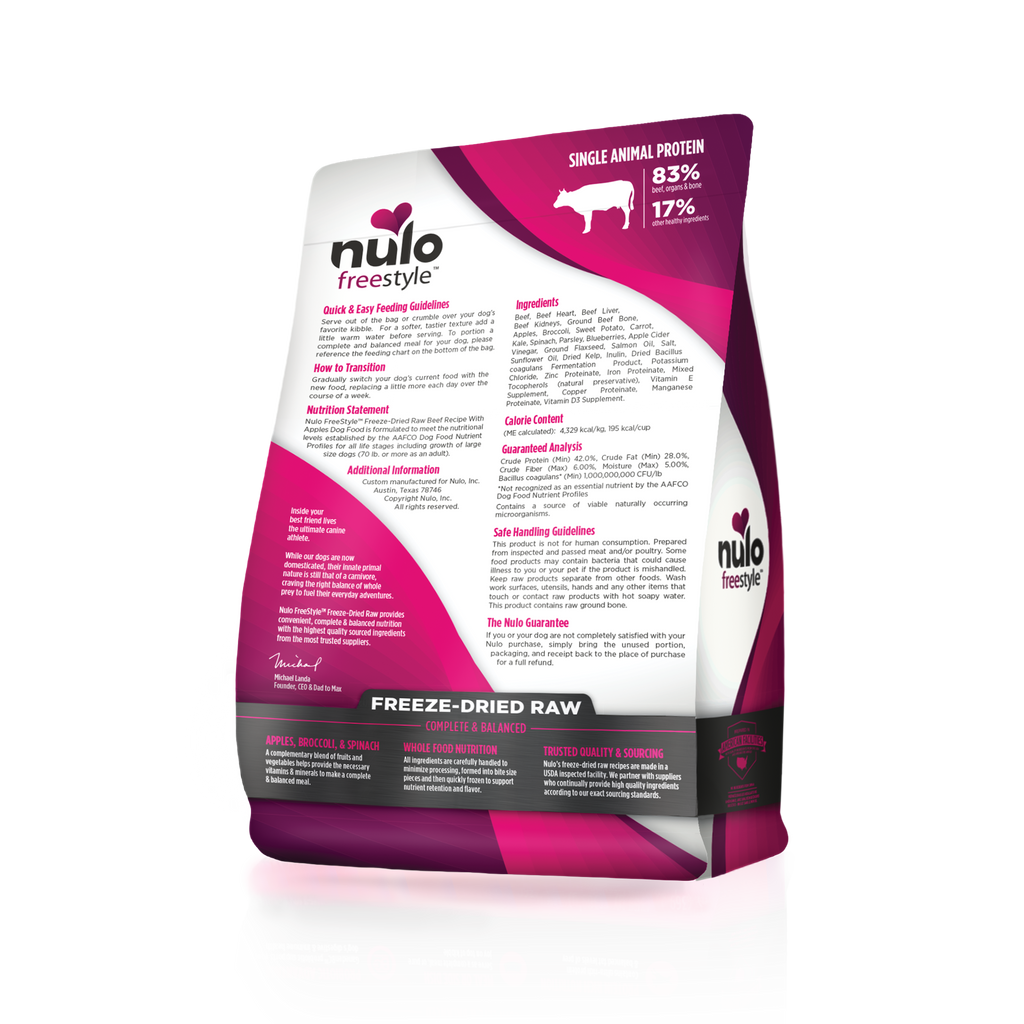Nulo Freestyle  grain- free  freeze-dried raw beef recipe for adult dogs. This is a purple and white back of bag image.