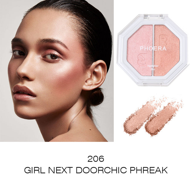 PHOERA® Duo double shade Highlighter Smooth Powder giving a glowing finish