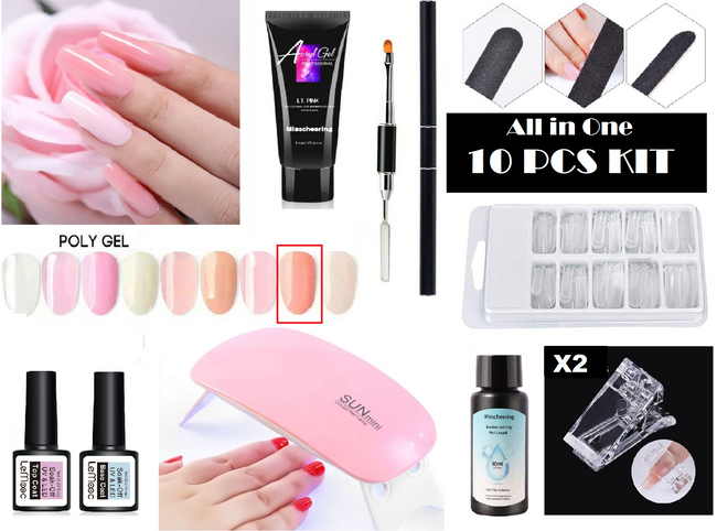 All in One 10pcs Acryl Poly Gel Manicure Kit