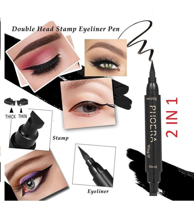 PHOERA® Black Winged Eye liner and Stamp  2 IN 1