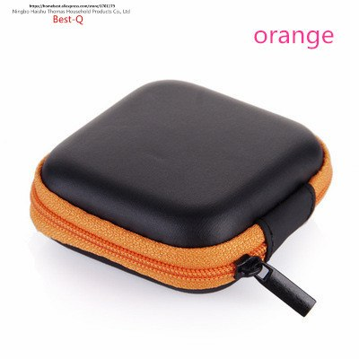 Orange mobile phone charger & earphone storage case