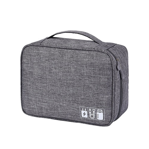 Gray Travel Cable Bag Portable