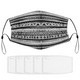Black & White Collection (Tribal) Face Mask with Filter Element, Multiple Spare Filter Cartridges