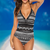 Black & White Collection (Tribal) Women's Lace One Piece Swimsuit Deep V Neck