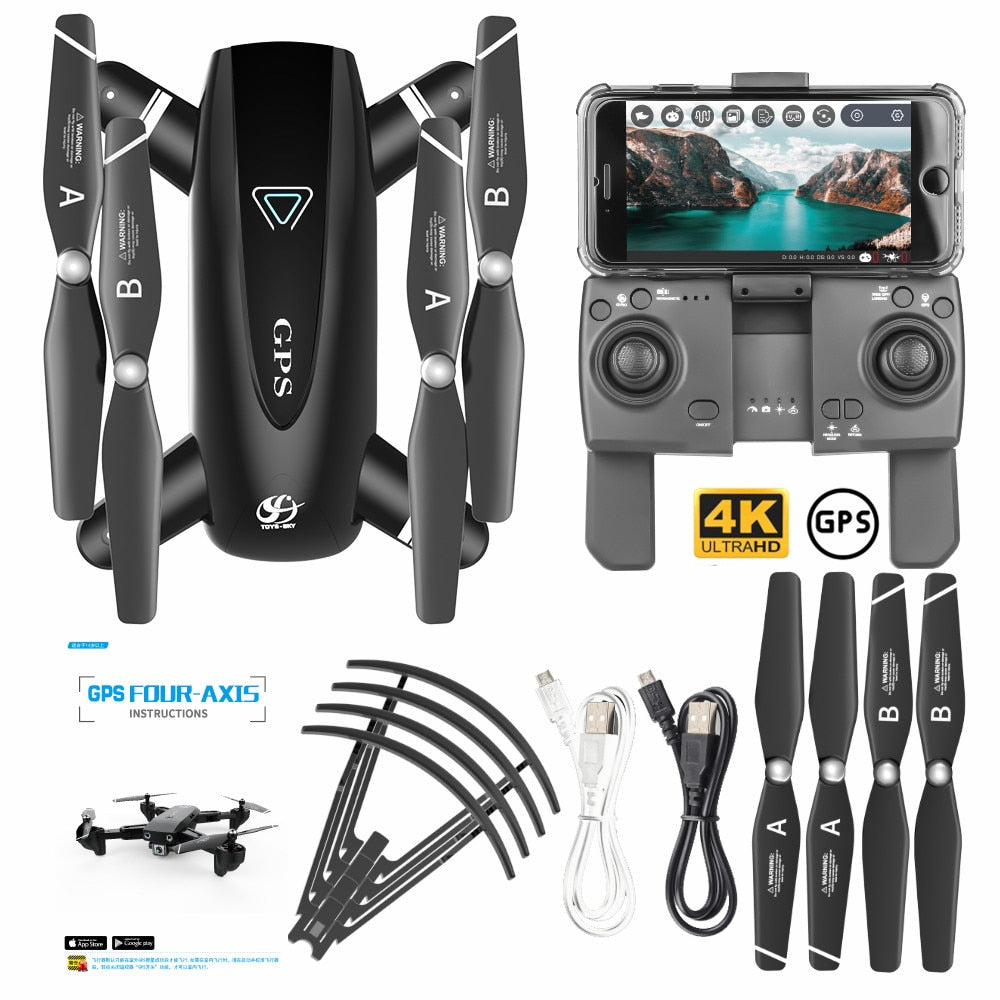 Drone With Camera RC Quadcopter Drone 4K WIFI FPV Foldable Off-Point Flying Gesture Photos Video Helicopter Toy