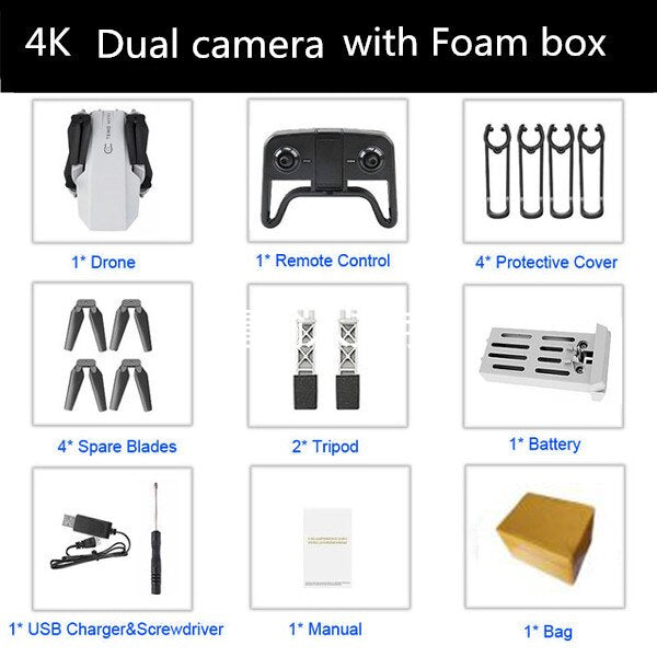 Best 4K HD Camera RC Mini Foldable Drone with Live WIFI FPV Selfie Optical Flow Stable Height Fly Quadcopter RC Helicopter