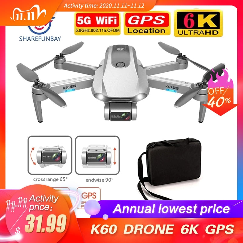 New K60 drone 6k HD dual camera two axis gimbal 5G WIFI FPV foldable RC Quadcopter flying 25 minutes drone 4k professional