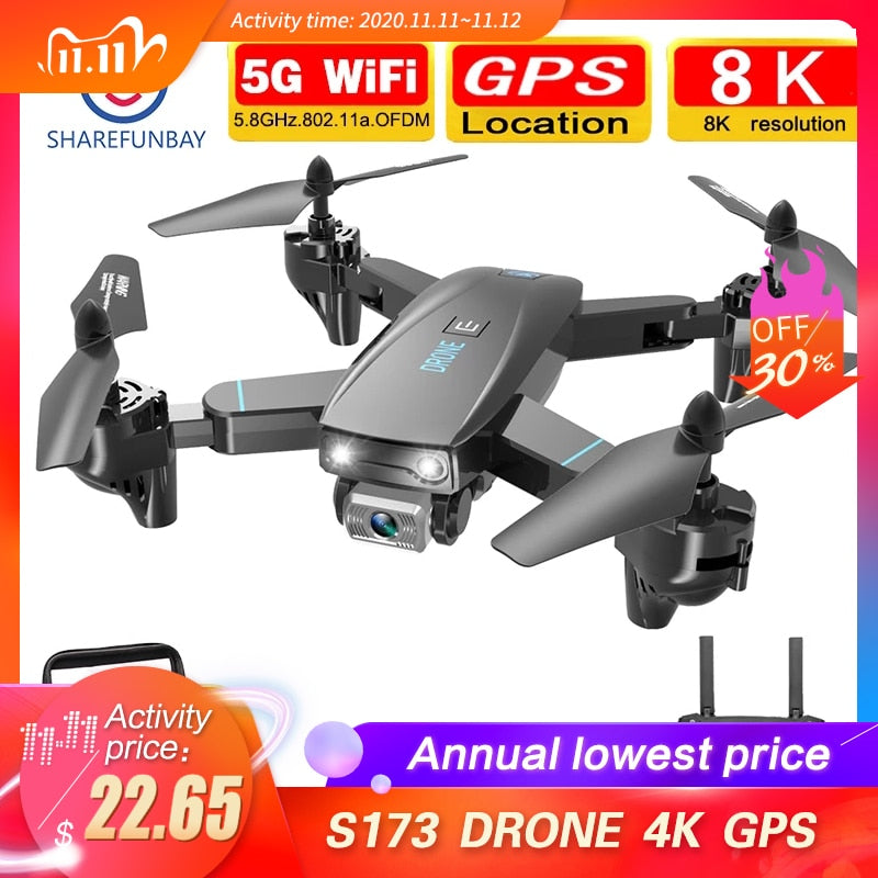 SHAREFUNBAY DRONE 4k HD WiFi FPV DRONE live video, altitude maintaining RC Quadcopter flying for 20 minutes S171 DRONE