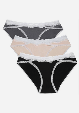 Nirveli 3 Pcs Lace-trim Panties