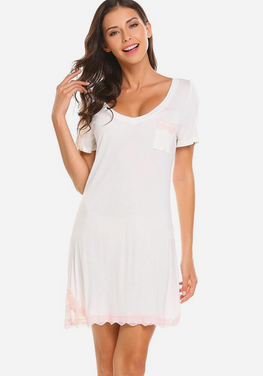 Izyan V-Neck Short Sleeve Nightdress