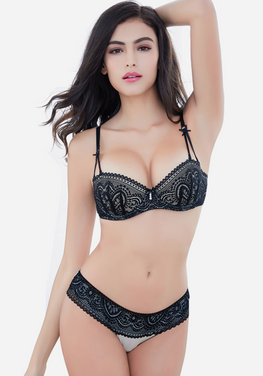 Mana Half Cup Ultra-Thin Lace Bra Set