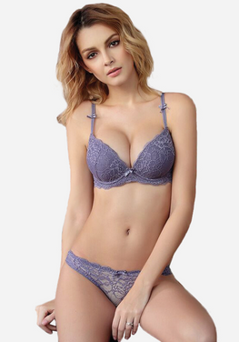 Titiana Gathered Lace Push Up Bra Set