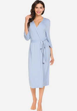 Zerisa Loose V Neck Self Belt Robe