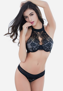 Sendran Embroidery Slim Lace Bra Set