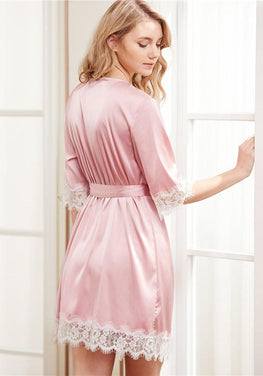 Lace Trim Wrap Sleepwear
