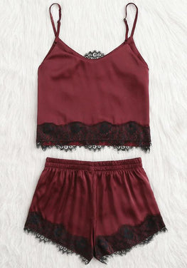 Applique Satin Sleepwear