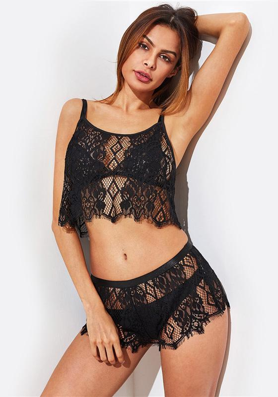 Hollow Out Lace Pajamas Set