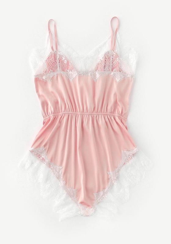 Lace Trim Sleep Rompers