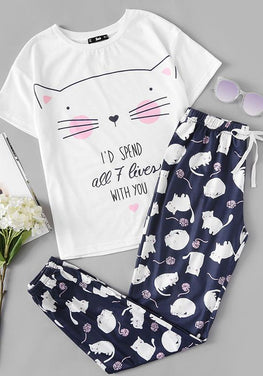 Cute Cat Pajamas Set