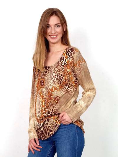 Long sleeve T-shirt  with leopard pattern