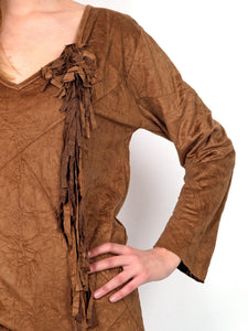 Brown  V neck tunic.