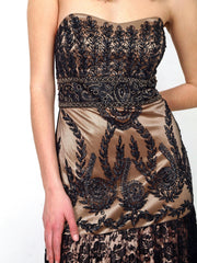 Long formal dress with black lace.
