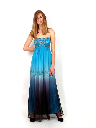 Turquoise long festive dress.
