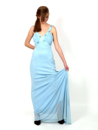 Light blue, festive dress, long.
