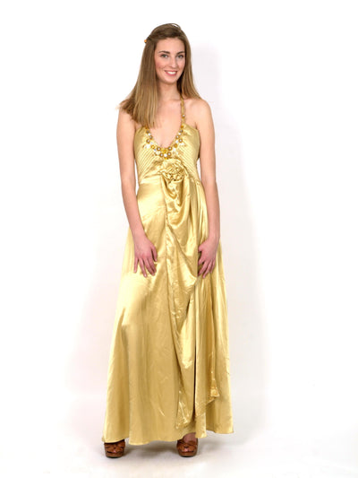 Gold silk evening gown