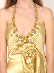 Gold silk evening gown.