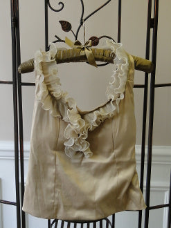 Ruffled Halter Top - front beige