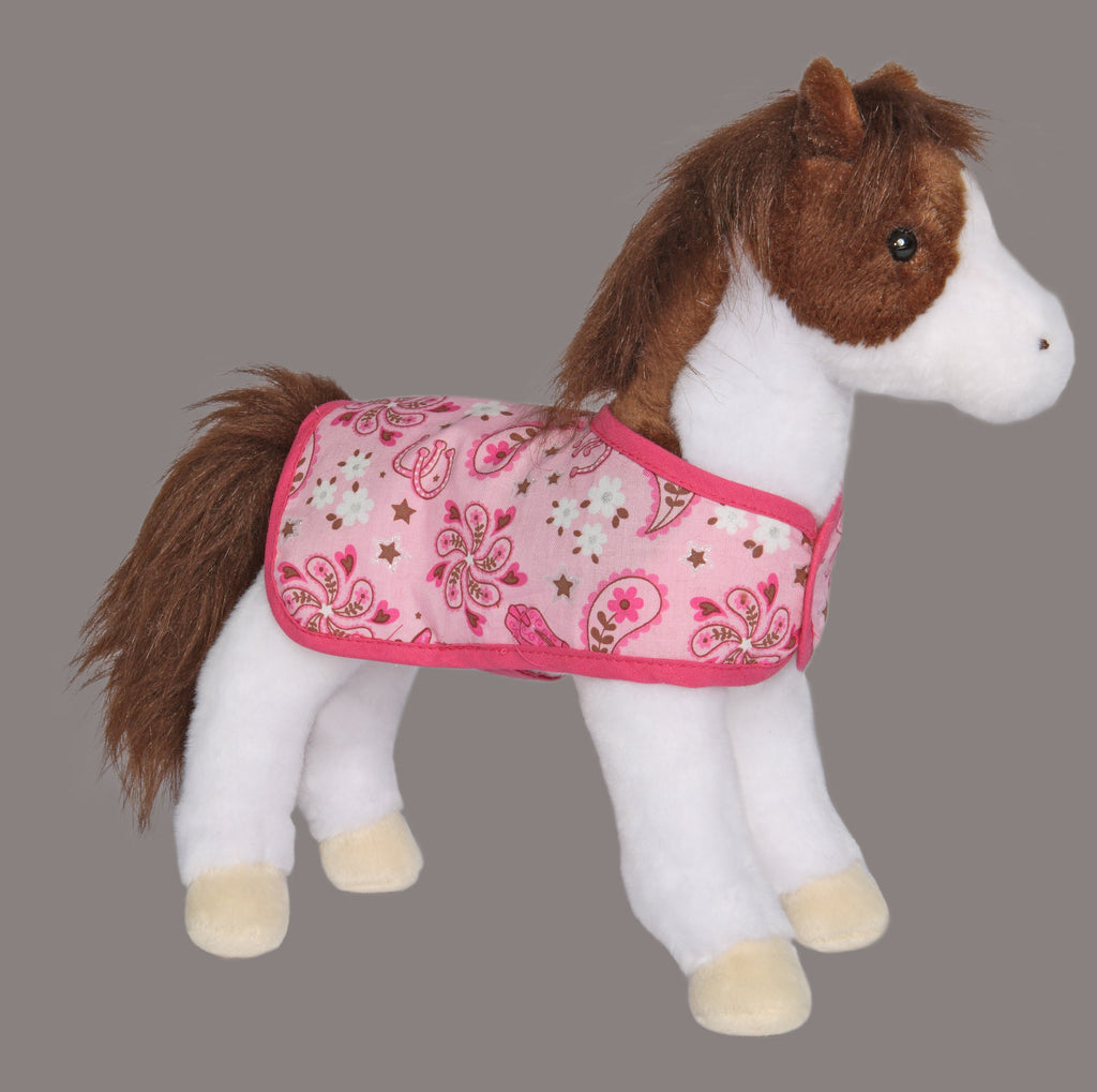 Daphne Pinto Horse with Pink Blanket.