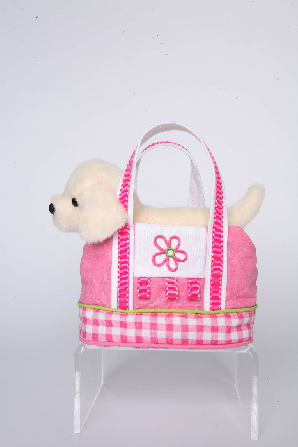 Pink Gingham Tote with Cream Lab.