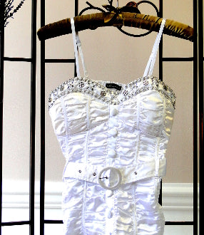 White Top with Beaded Accent - front