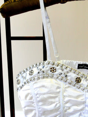 White Top with Beaded Accent - detail