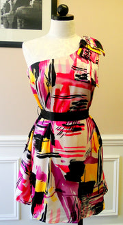 One Shoulder Belted Printed Dress.