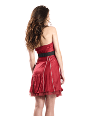 Belted Strapless Dress with Pinstripes.