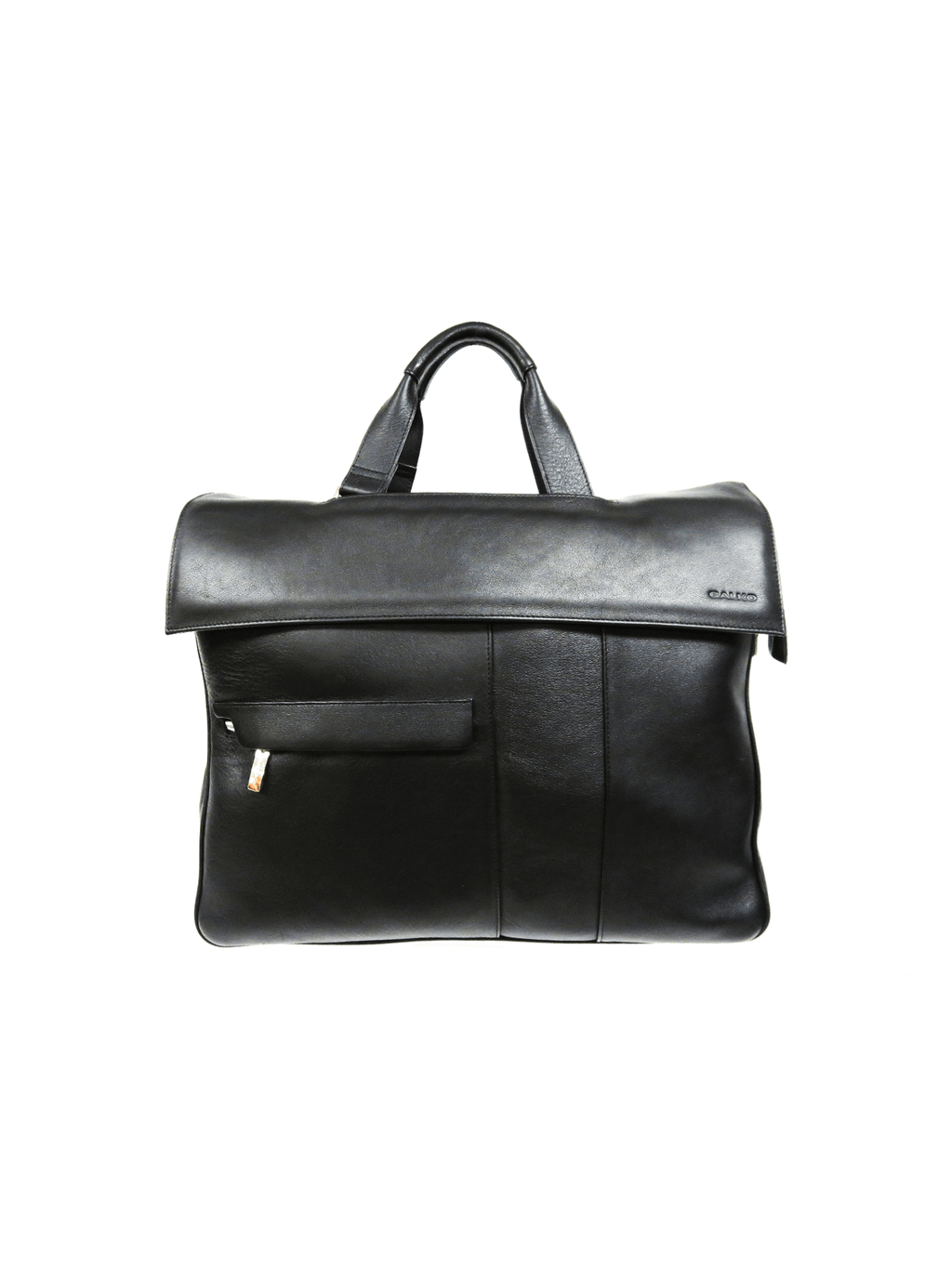 Classic Black Briefcase-Leather-Spacious Interior-Multiple Pockets.