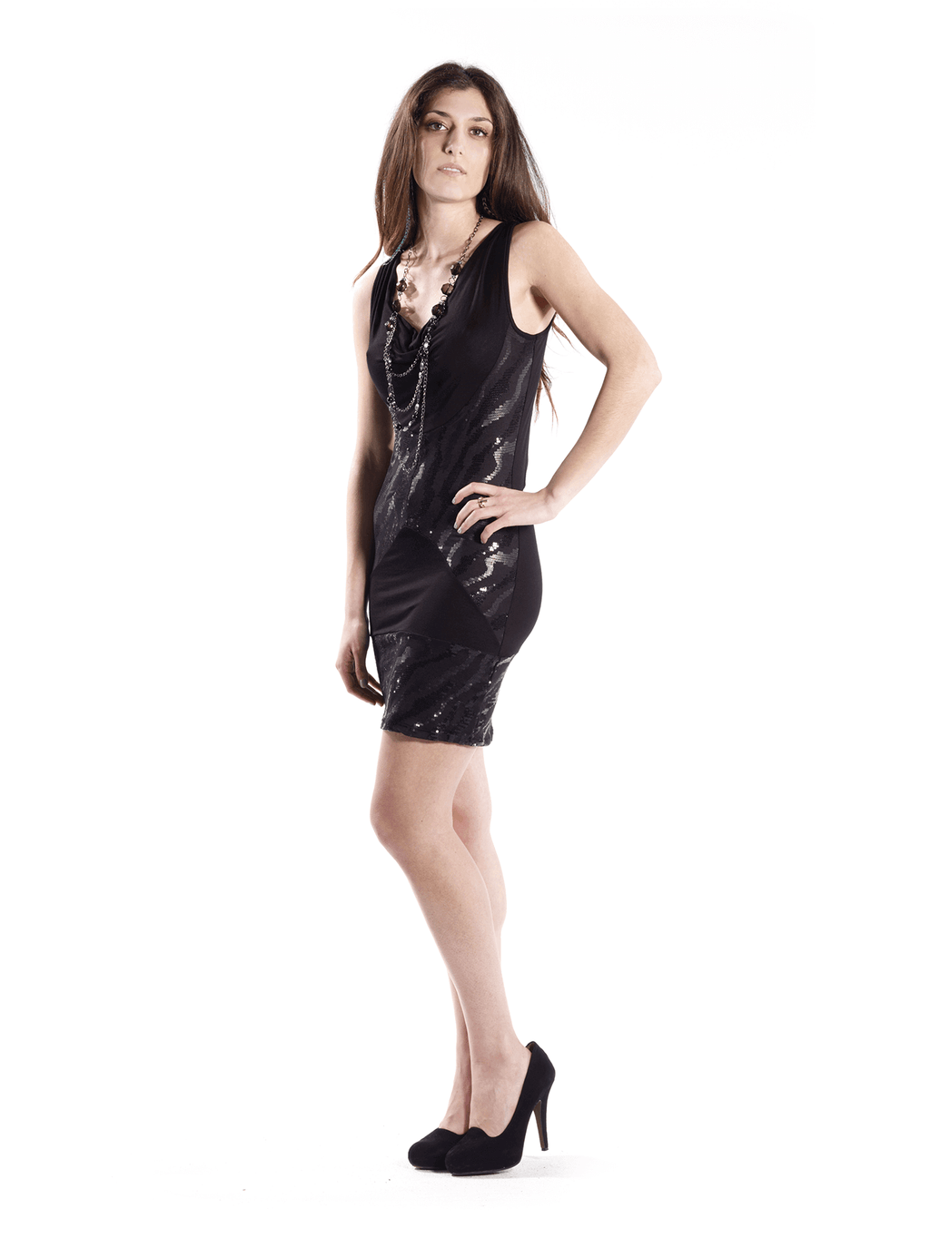 Black Dress with Detachable Necklace 2